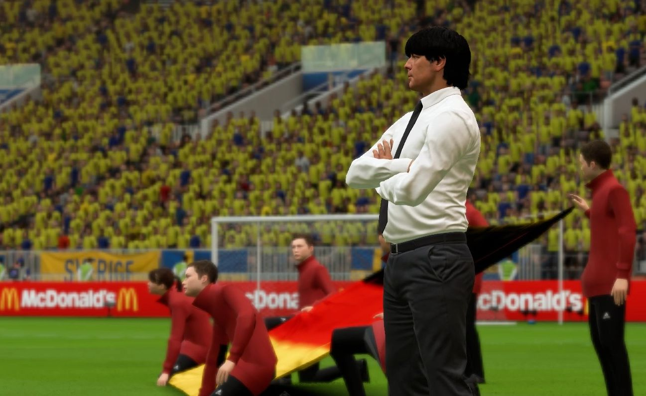Затруднительное положение Лёва на матче Германия - Швеция